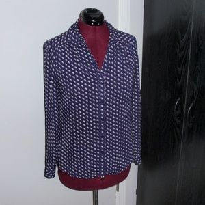 Ann Taylor Loft Long Navy Button Up Blouse Sz M